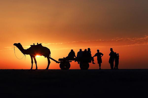 watching sunset at rann of kutch